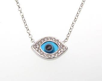 Collier de mauvais oeil, pendentif en argent Sterling avec des cristaux de Swarovski et oeil de verre bleu, chaîne réglable
