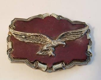Vintage Solid Brass Leather American Eagle 1980' BELT BUCKLE