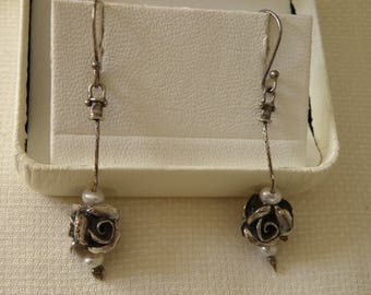 Dangle Sterling Silver Rose and Pearl Earrings