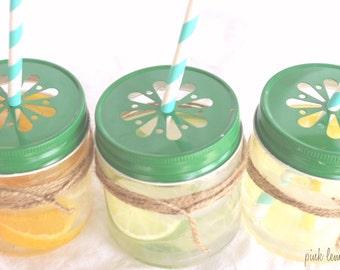 GREEN DaiSy CuT MaSoN JaR LiDS with plastic jars-choose size---6ct--parties-weddings-showers