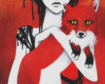 Fox Cross Stitch Kit, Fauna By Leilani Joy,  Counted NeedleCraft Kit, Orange, Modern Cross Stitch, Counted Cross Stitch