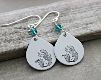 Mermaid Earrings - Pewter hand stamped tear drops - Teal Blue Zircon Swarovski crystals - Sterling silver ear wires - Beach fantasy jewelry