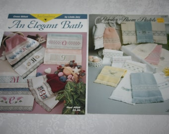 Two Cross Stitch Instructions For Bathroom Finger Tip Decorative Accent Hand Towels