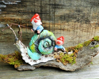 snail and Gnomes polymer clay sculpture