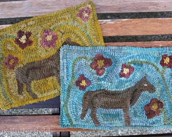 Rug Hooking Pattern Old Mare on Linen or Paper