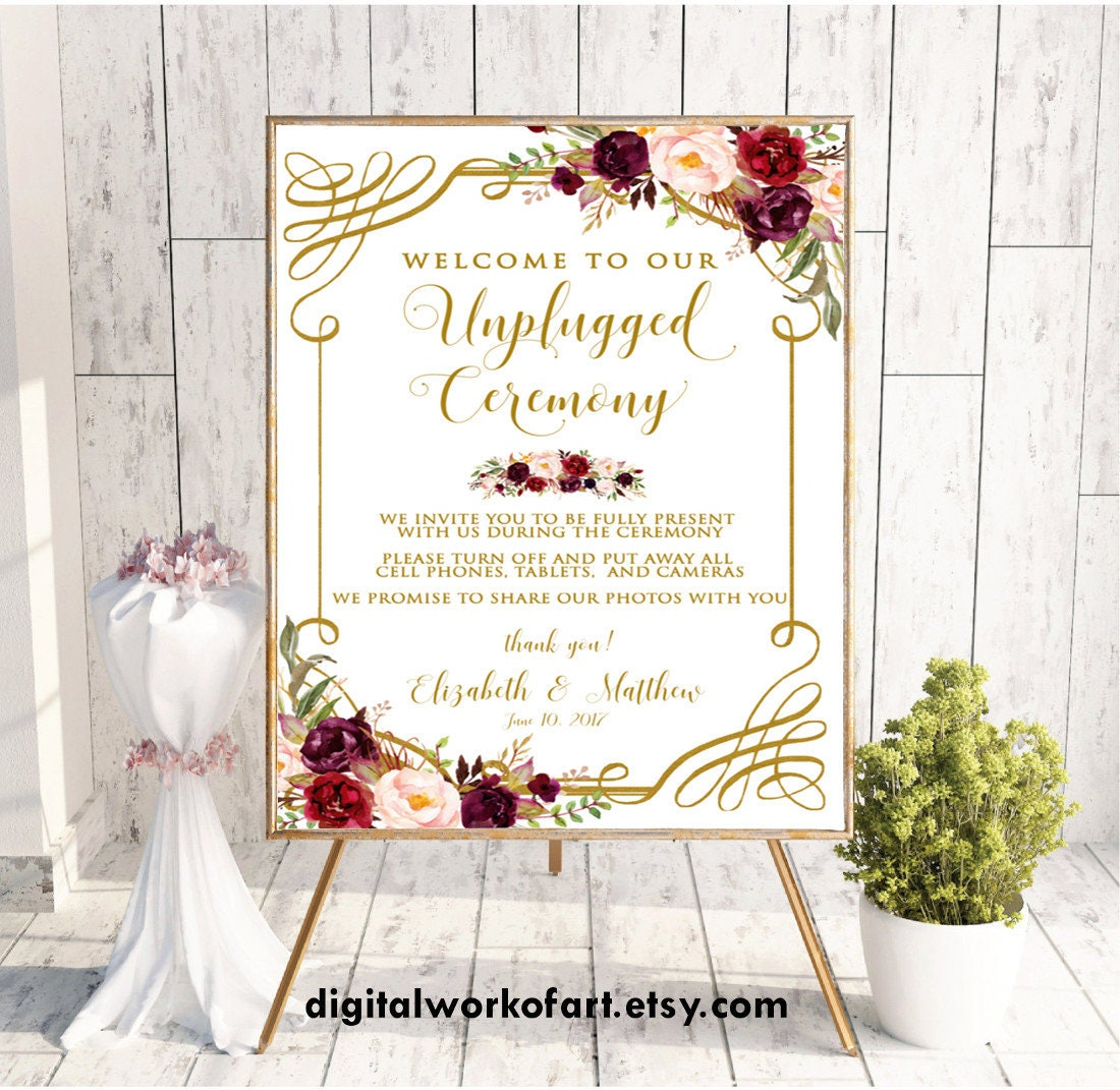 Welcome To Our Unplugged Ceremony Wedding Sign, No Cell Phone No Photography No Cameras Sign, Floral Boho Burgundy Wedding Printable, #LC