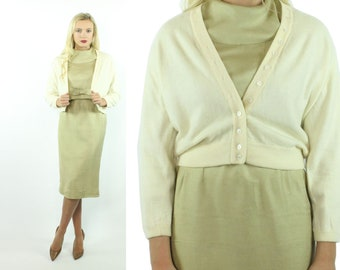 50s Ballantyne Cashmere Cardigan Sweater Ivory Button Up Cropped Vintage 1950s Large L Pinup Rockabilly