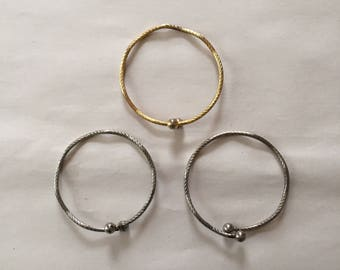 1980s silver and gold bangle bracelets | rope twisted ball bracelets