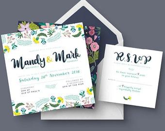 Spring Wedding Invitation Set | Floral Wedding Set | RSVP | Printable Digital File