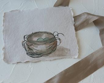 nest watercolor print- nest watercolor print-birds nest - watercolor -handmade paper-botanical print-fine art print - FREE SHIPPING