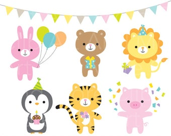 Birthday Animal Clipart Party Animal Clipart Birthday Party Clipart Cute Lion Birthday Tiger Birthday Clipart Animal Celebration Clipart