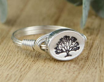 Tree of Life Ring- Sterling Silver, Yellow or Rose Gold Filled Wire Wrapped Ring with Pewter Bead- Any Size 4 5 6 7 8 9 10 11 12 13 14