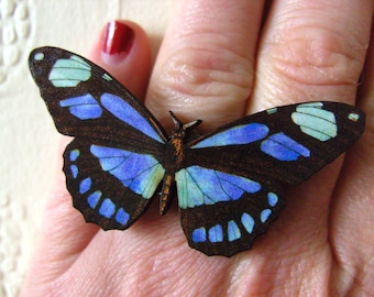 Large, wooden, Butterfly, ring, adjustable, or brooch, blue and black, butterfly ring, butterfly brooch, by NewellsJewels on etsy
