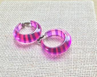 Pink and Purple Lucite Hoop Earrings
