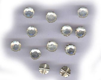 25 vintage CLEAR ROSE MONTEES czech 8mm haskell era, sew ons, prong set faceted crystals, 8mm bridal embellishment
