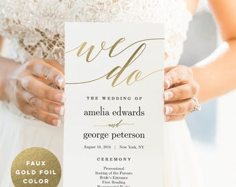 Wedding Program Editable Template - Printable Wedding Program - Instant Download - Modern Script #MSC Faux Gold Foil Color