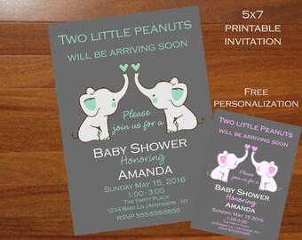 Unique Twins Baby shower invitation, gray and mint, Twins elephant baby shower invitation,modern, grey, mint, 5x7 printable invitation,