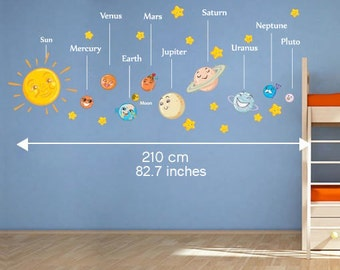 Solar System Decals - Planets with Names Wall Stickers - Sticker For Nursery or Kids Bedroom Decoration - SKU:SOLARSTK