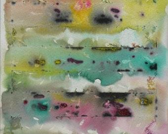 Original Acrylic Painting Abstract Art Wall Decor Small Abstract Painting Watercolor Yellow Green Magenta
