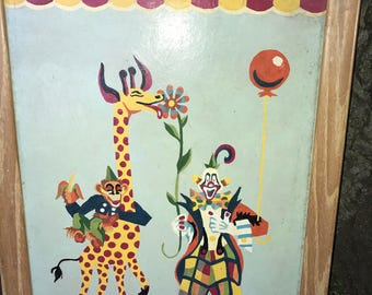 Vntg 1960s PBN Paint By Number CIRCUS Clown GIRAFFE Monkey 18 X 14 framed