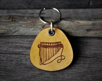 Pan flute - genuine leather keychain