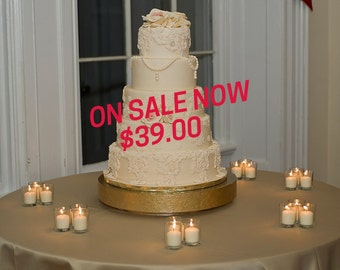 "SALE Gold Cake Stand 16 inch ""Gold Floral Leaf"""