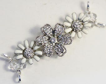Bling It On.. Rhinestone Encrusted and Enameled Flower and Crystal Interchangeable Beaded Watch Band
