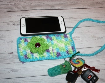 Cross body cell phone pouch, crochet bag, cell phone cozy, cell phone sleeve, chapstick holder, cell phone case, small purse cross body