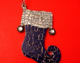 Stained Glass Mosaic Christmas Stockings Gifts under 25 Dollars Blue and Silver