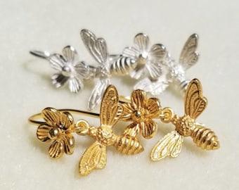Flower & Bee Dangle Earrings