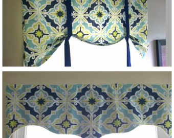 Blue Tie up Valance, Lined Tie up Valance,Blue, Navy, Green and White Valance, a white band on the top. Tie up Valance, Premier print
