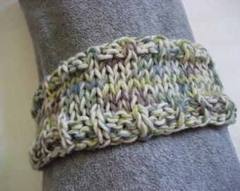 CLEARANCE SALE Hand Knit Headband, Purple Blue Green White, Alpaca Blend, Super Soft, Dreadband Hairband Tube Hat Ear Warmer Dread Sweatband
