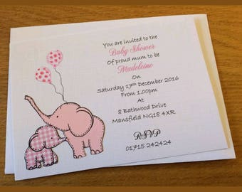 Cute baby elephant baby shower invitations. Set of 15.