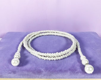 Classic white pearl long wrapped Dangle necklace, Pearl beaded wrapped dangle necklace, pearl long necklace, pearl necklace,