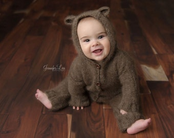 Bear Hooded Overalls, Sitter Overalls, Photo Prop