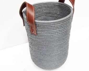 Design high Burmese rattan basket with handles.