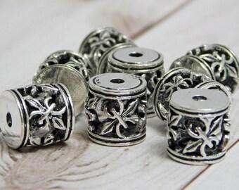 5pcs - 10mm - Hollow Metal Beads - Spacer Beads - Metal Beads - Silver Beads - Antique Silver - Barrel Beads - Fleur De Lis - (3165)