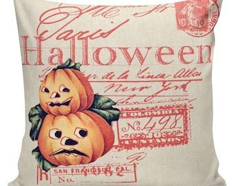 Halloween Pillow Vintage Jack O Lantern Pumpkin Postcard Burlap Cotton Throw Pillow Cover #HA0152