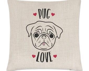 Pug Love Linen Cushion Cover