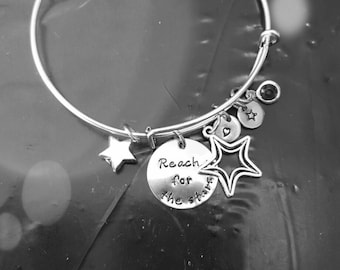 Reach for the stars bracelet, starting bracelet,  reach for your dreams, inspirational jewelry, inspirational bracelet, valentines gift