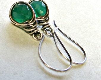 Green Onyx Earrings Eco Friendly Jewelry Fine Silver Earrings Gifts for Her