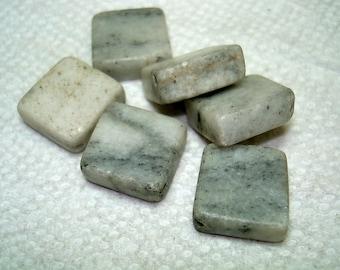 Black Grey Marble Diamond Stone Beads (Qty 6) - B3052