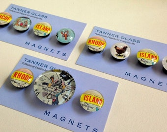 Rhode Island Magnets or Push Pins - Choose from 3 options - made from Vintage Postcard images - souvenir travel gift