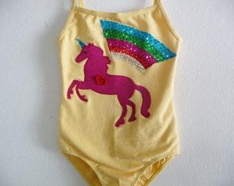 UNICORN LEOTARD - Rainbow Leotard- Personalized  Birthday Leotard - Sizes 18/24 months, 2/4 years, 4/6 years, 6/8 years and up