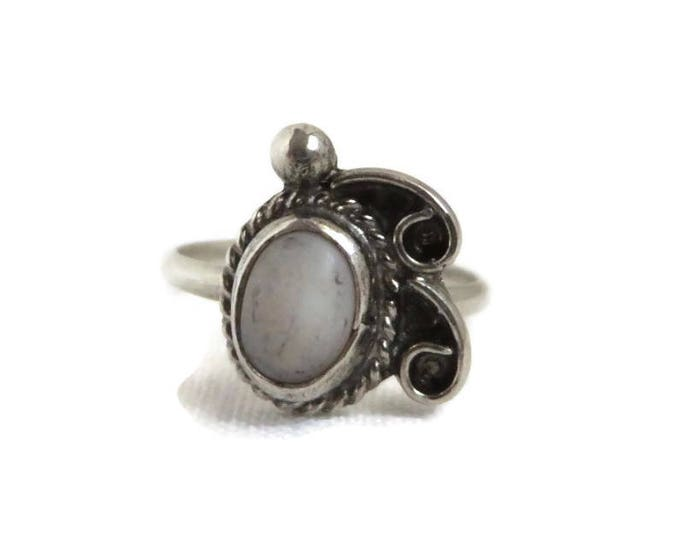 Native American Ring, Sterling Silver, Vintage White Quartz Ring, Navajo Jewelry, Gift Idea, Size 4