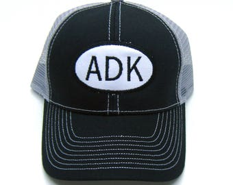 Adirondack Hat - Black and Gray Trucker hat - ADK Oval