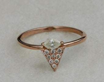 Triangle Design 0.27 Carat Natural Pave DIAMOND RING Handmade Solid 18k Rose Gold Fine Jewelry Latest Design