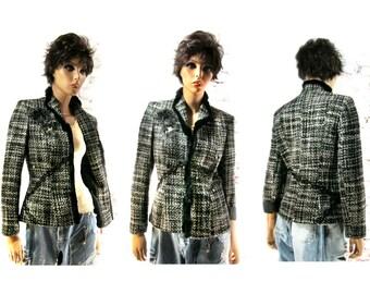 Altered couture clothing , Black and white jacket , embellished blazer , women's  OOAK clothing , Size 8 ,   # 126