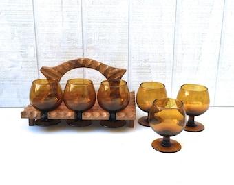 Vintage  Harvest Gold Bar Glasses In a Hand Carved Wooden Carrier