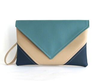 Navy Clutch Bag Wristlet Clutch Bag Envelope Blue Clutch Purse Gift For Women Vegan leather handbag Evening bag Bridesmaid Clutch Vegan bag